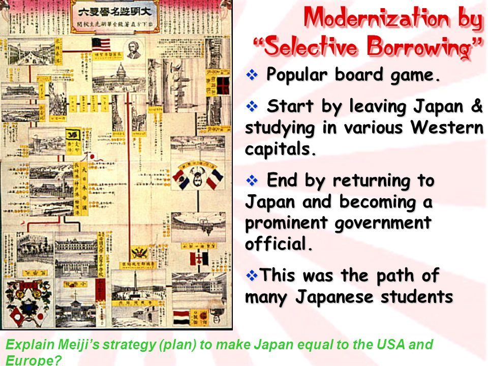 Modernization by Selective Borrowing Modernization by Selective Borrowing Popular board game. Popular board game. Start by leaving Japan & studying in