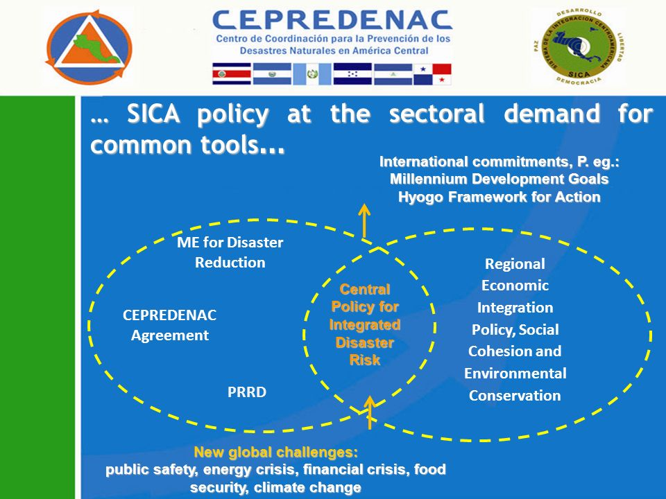 … SICA policy at the sectoral demand for common tools … ME for Disaster Reduction CEPREDENAC Agreement PRRD Central Policy for Integrated Disaster Risk Regional Economic Integration Policy, Social Cohesion and Environmental Conservation International commitments, P.