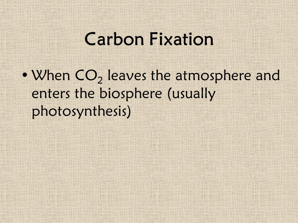 Carbon Fixation When CO 2 leaves the atmosphere and enters the biosphere (usually photosynthesis)