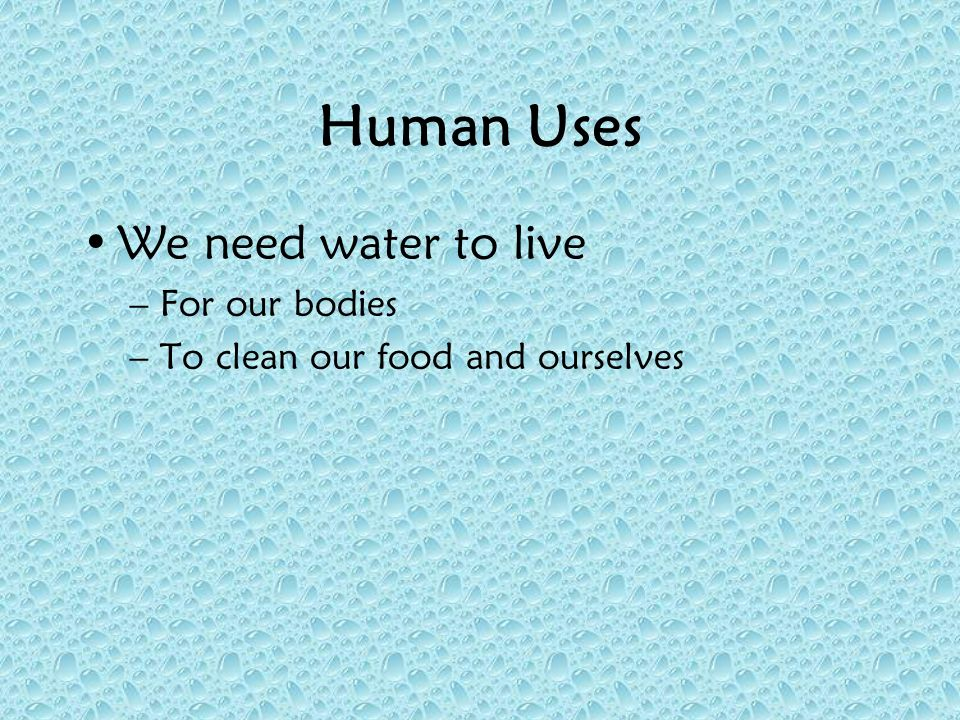 Human Uses We need water to live –For our bodies –To clean our food and ourselves