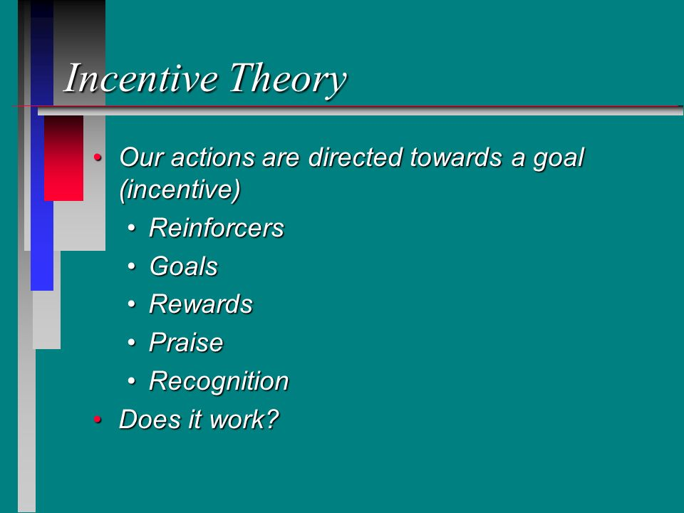Incentive Theory Our actions are directed towards a goal (incentive)Our actions are directed towards a goal (incentive) ReinforcersReinforcers GoalsGo