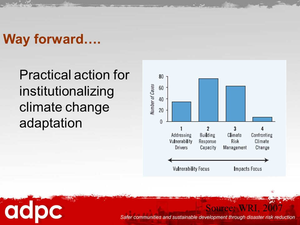 Way forward…. Practical action for institutionalizing climate change adaptation Source: WRI, 2007