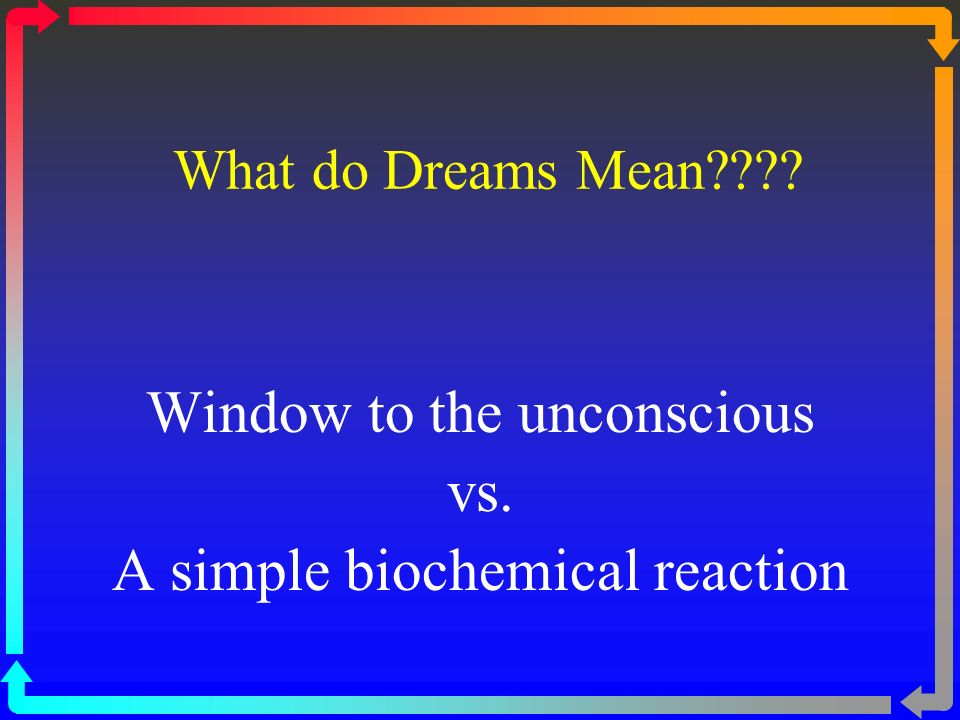 What do Dreams Mean Window to the unconscious vs. A simple biochemical reaction