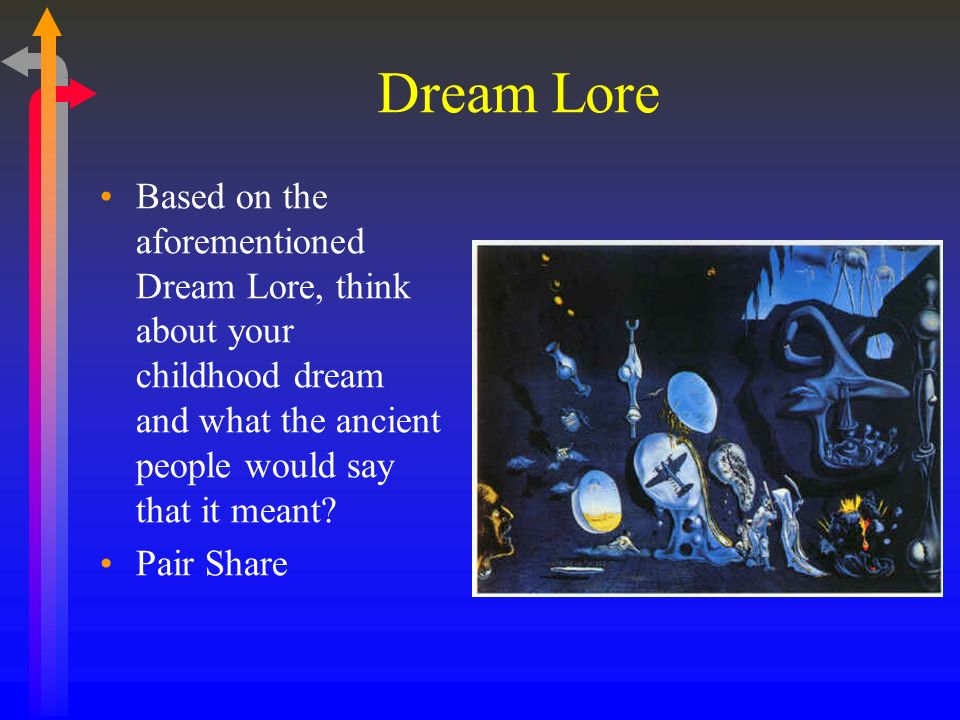 Dream Lore Based on the aforementioned Dream Lore, think about your childhood dream and what the ancient people would say that it meant.