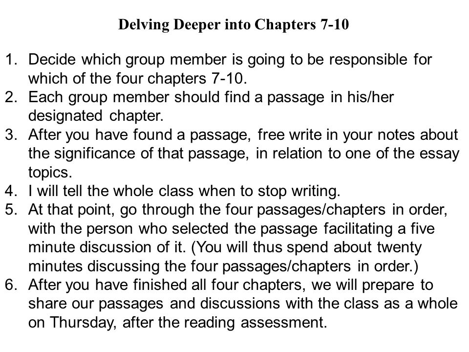 1.Decide which group member is going to be responsible for which of the four chapters 7-10. 2.Each group member should find a passage in his/her desig