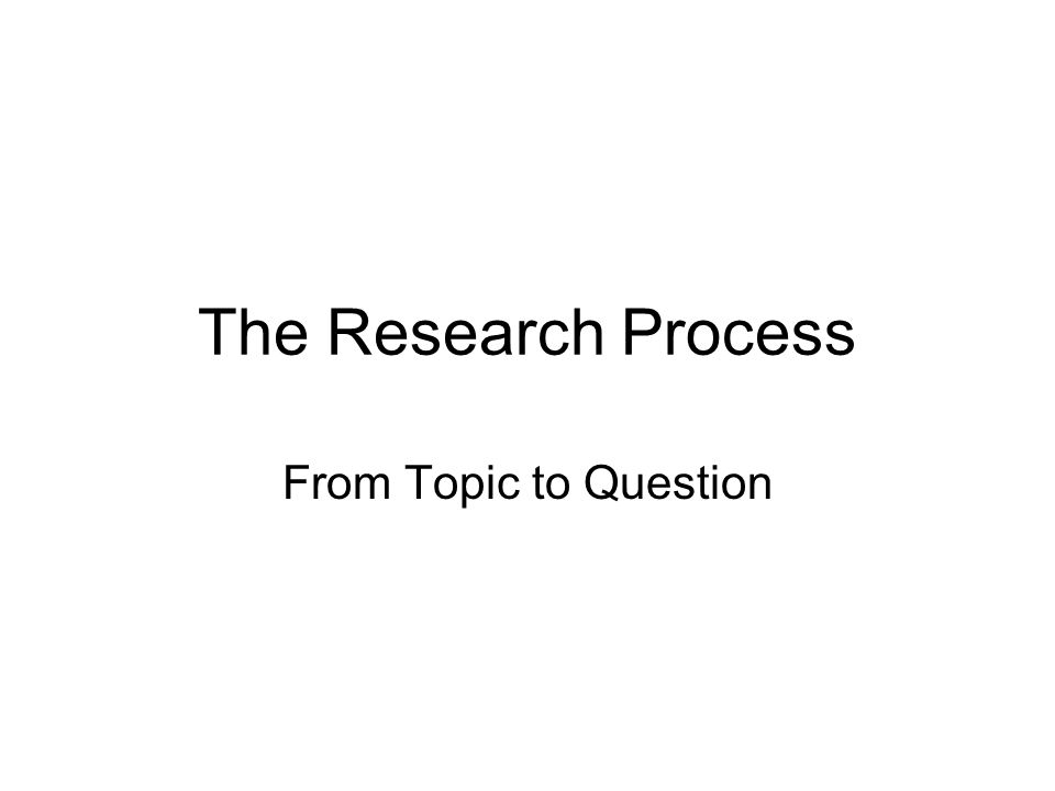 The Research Process From Topic to Question