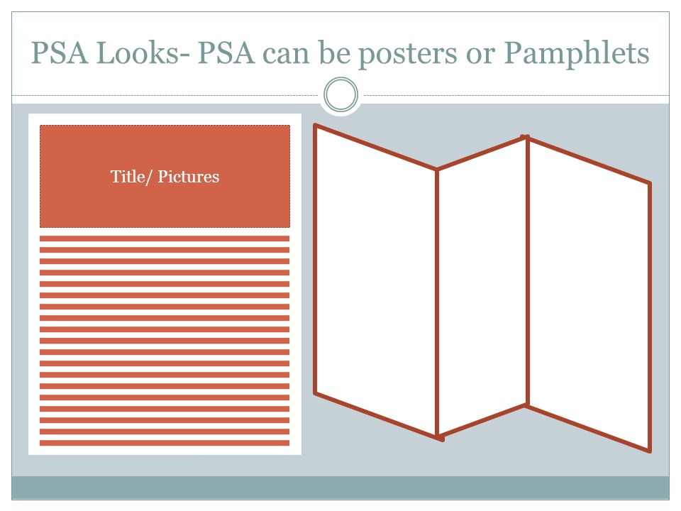 PSA Looks- PSA can be posters or Pamphlets Title/ Pictures