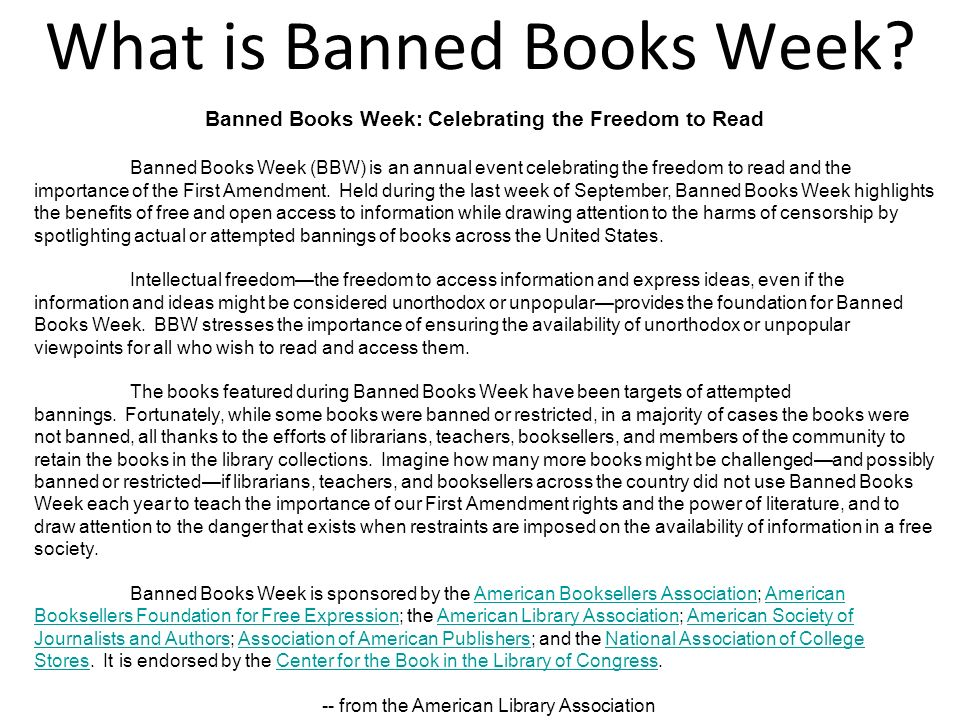 Each year, the ALA s Office for Intellectual Freedom compiles a list of the top ten most frequently challenged books.