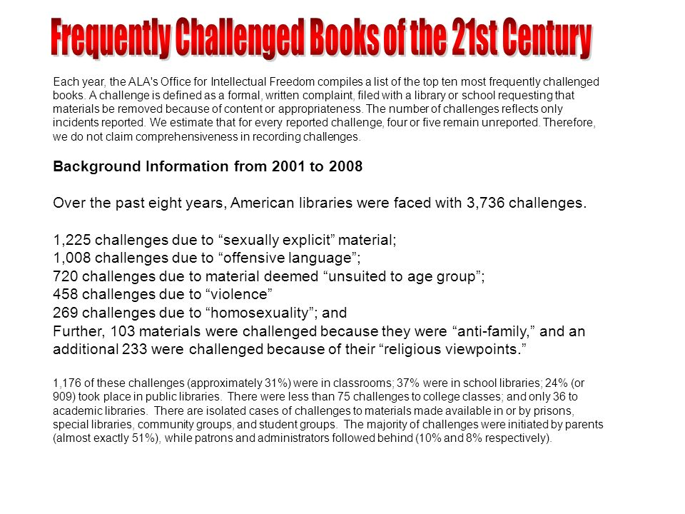 Each year, the ALA's Office for Intellectual Freedom compiles a list of the top ten most frequently challenged books. A challenge is defined as a form