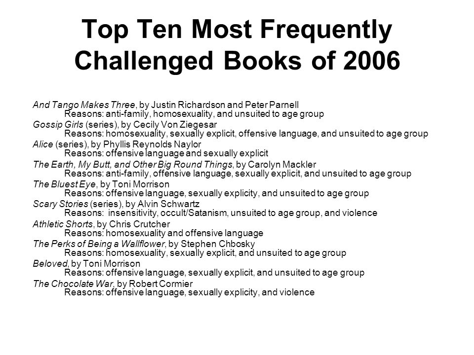 Top Ten Most Frequently Challenged Books of 2005 Its Perfectly Normal: Changing Bodies, Growing Up, Sex, and Sexual Health, by Robie H.
