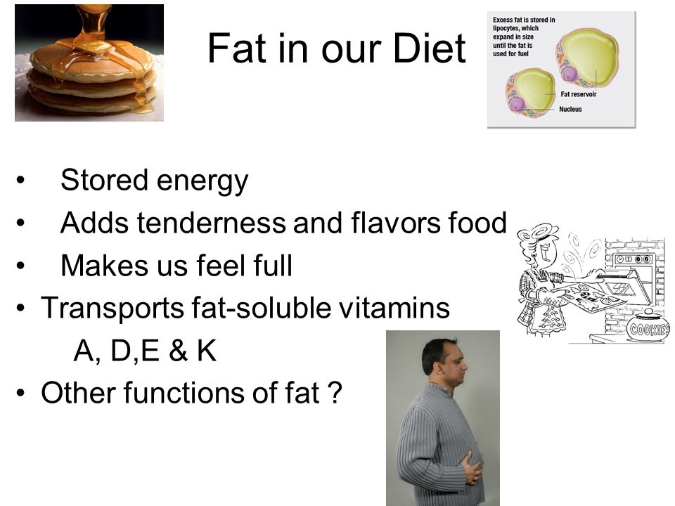 Fat in our Diet Stored energy Adds tenderness and flavors food Makes us feel full Transports fat-soluble vitamins A, D,E & K Other functions of fat ?