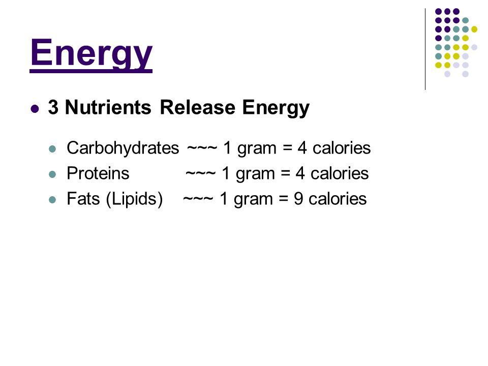 Energy 3 Nutrients Release Energy Carbohydrates ~~~ 1 gram = 4 calories Proteins ~~~ 1 gram = 4 calories Fats (Lipids) ~~~ 1 gram = 9 calories