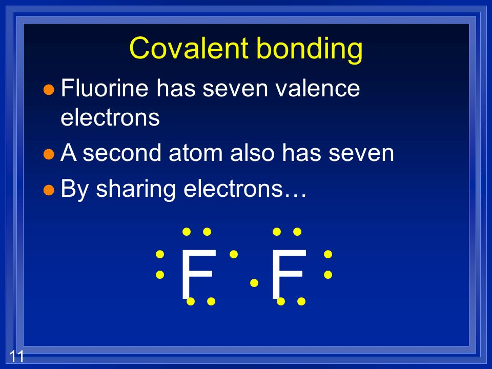11 Covalent bonding l Fluorine has seven valence electrons l A second atom also has seven l By sharing electrons… FF