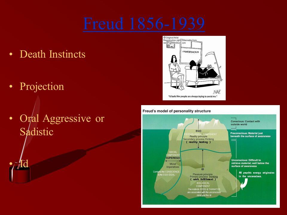 Freud 1856-1939 Death Instincts Projection Oral Aggressive or Sadistic Id