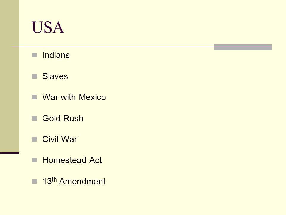 USA Indians Slaves War with Mexico Gold Rush Civil War Homestead Act 13 th Amendment