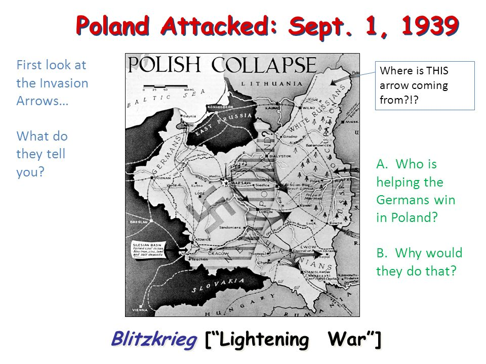 Poland Attacked: Sept.1, 1939 Blitzkrieg [Lightening War] Where is THIS arrow coming from?!.