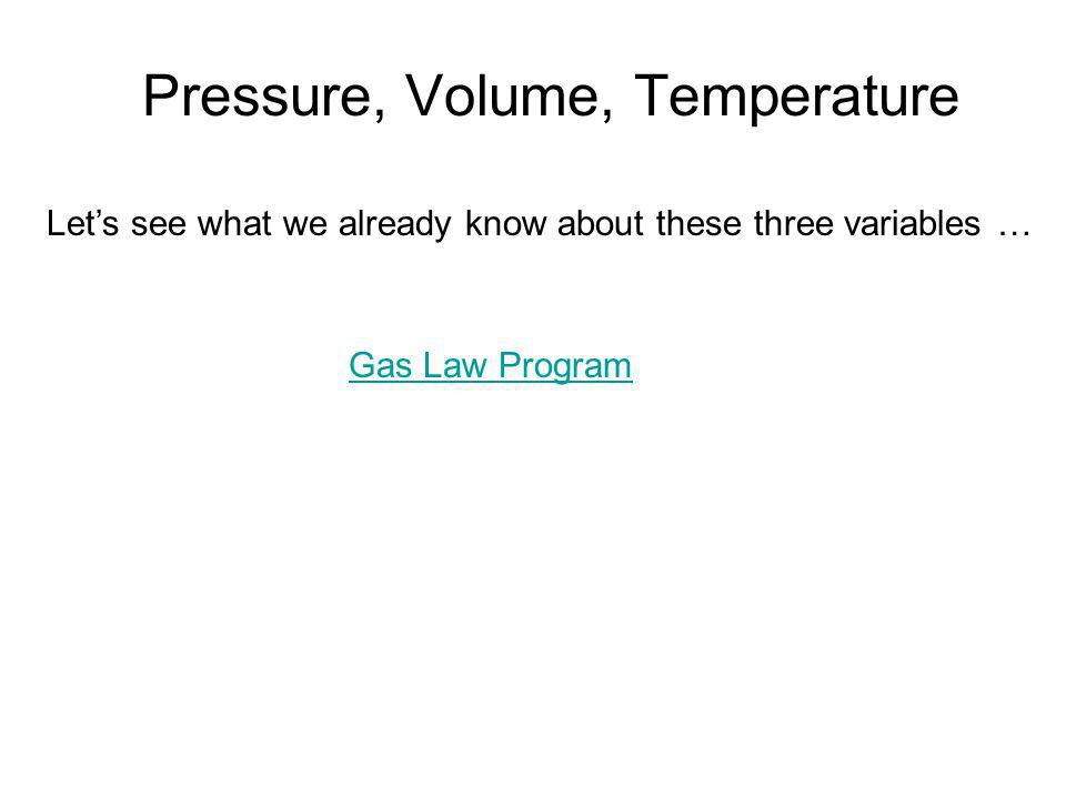 Pressure, Volume, Temperature Lets see what we already know about these three variables … Gas Law Program