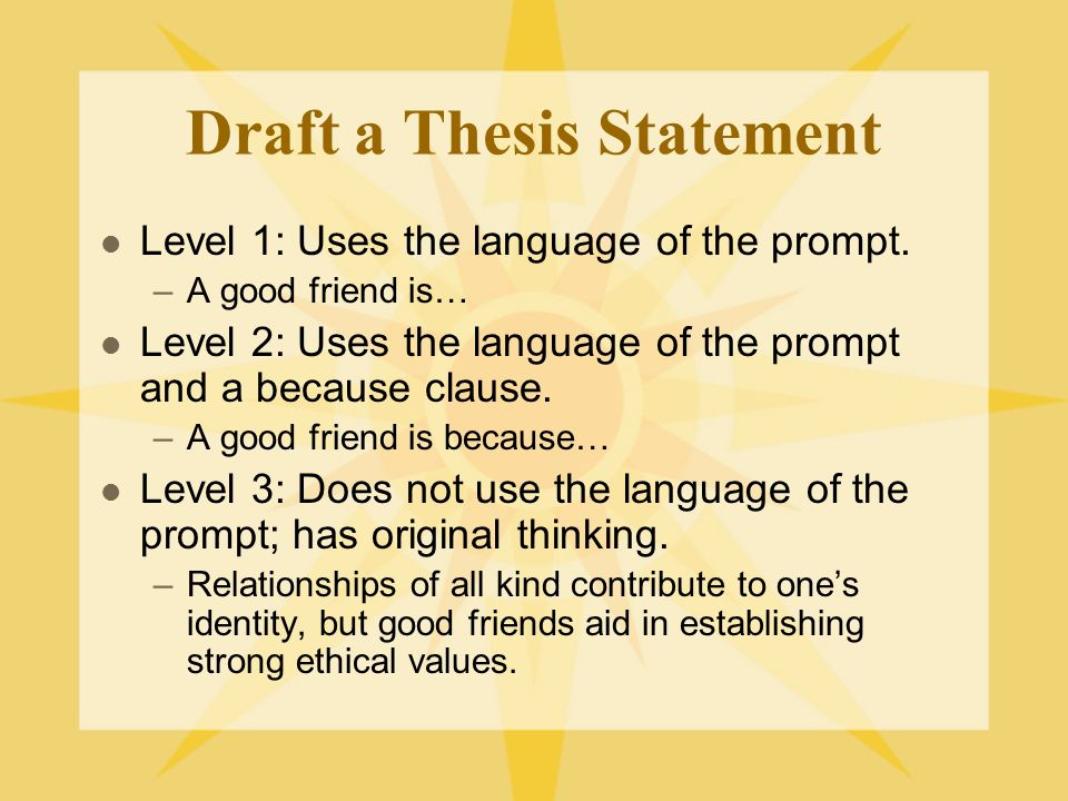 Draft a Thesis Statement Level 1: Uses the language of the prompt.