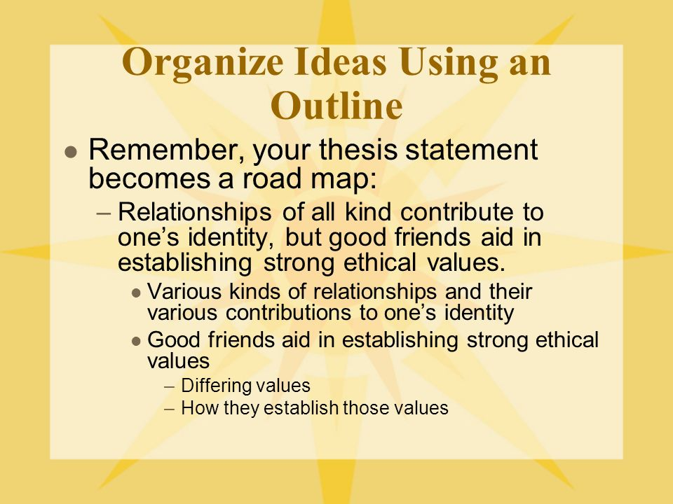 Organize Ideas Using an Outline Remember, your thesis statement becomes a road map: –Relationships of all kind contribute to ones identity, but good friends aid in establishing strong ethical values.