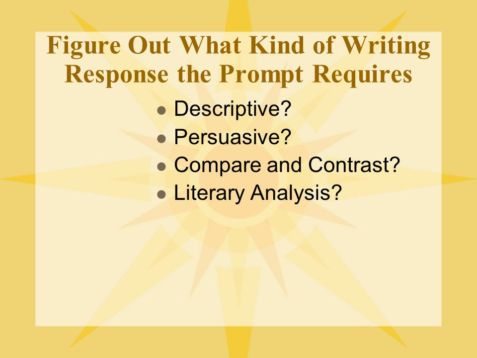Figure Out What Kind of Writing Response the Prompt Requires Descriptive.