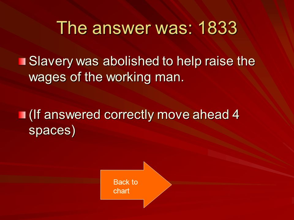The answer was: 1833 Slavery was abolished to help raise the wages of the working man. (If answered correctly move ahead 4 spaces) Back to chart