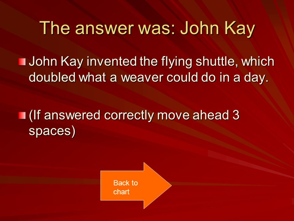 The answer was: John Kay John Kay invented the flying shuttle, which doubled what a weaver could do in a day.