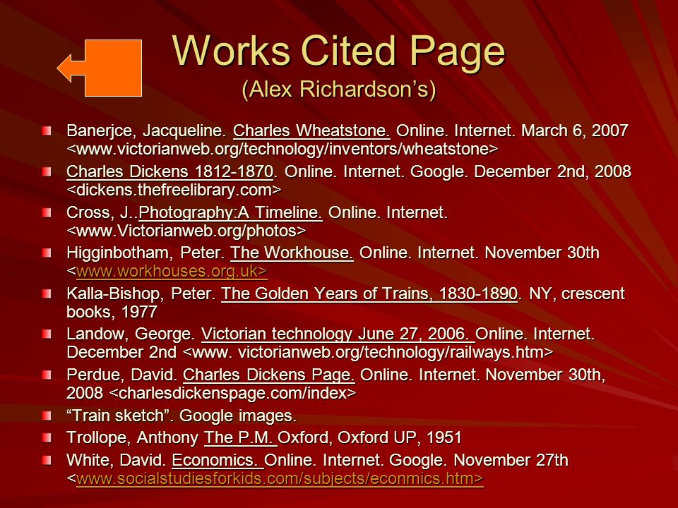 Works Cited Page (Alex Richardsons) Banerjce, Jacqueline. Charles Wheatstone. Online. Internet. March 6, 2007 Banerjce, Jacqueline. Charles Wheatstone
