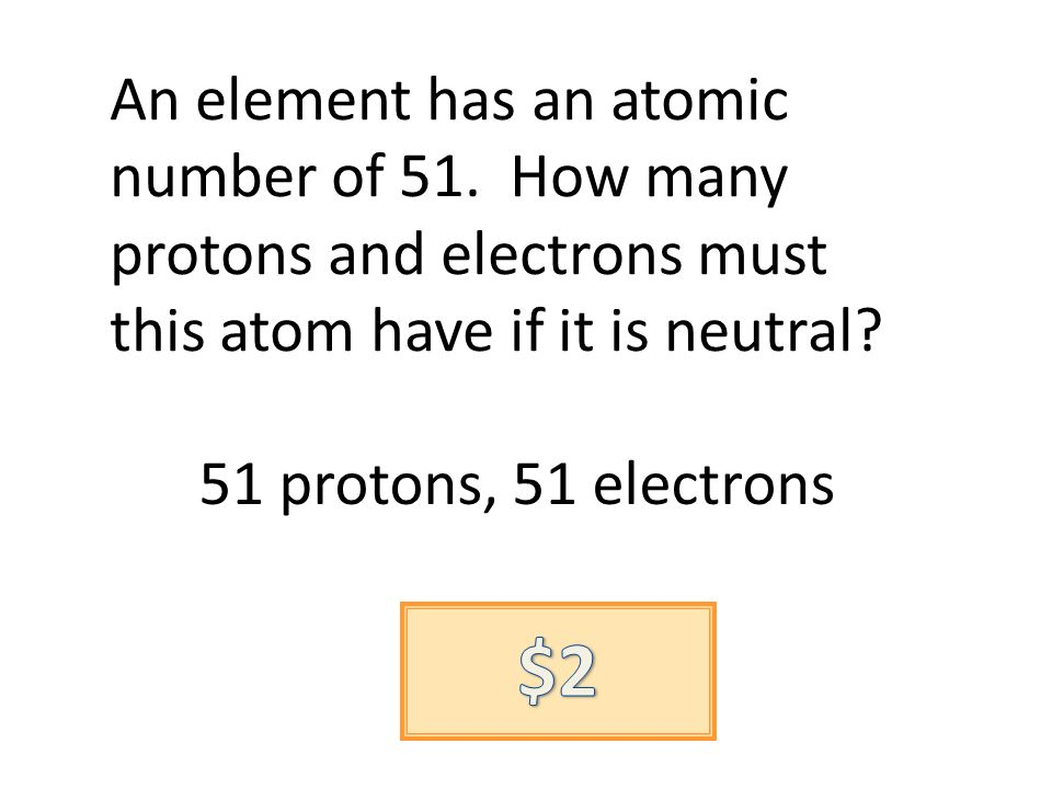 An element has an atomic number of 51. How many protons and electrons must this atom have if it is neutral? 51 protons, 51 electrons