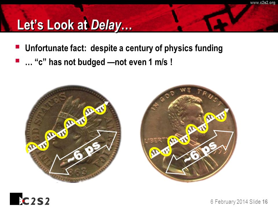 6 February 2014 Slide 16 http://www.c 2 s 2.org www.c 2 s 2.org Lets Look at Delay … Unfortunate fact: despite a century of physics funding … c has no