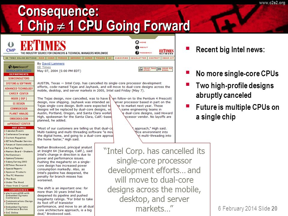 6 February 2014 Slide 20 http://www.c 2 s 2.org www.c 2 s 2.org Consequence: 1 Chip 1 CPU Going Forward Recent big Intel news: No more single-core CPU