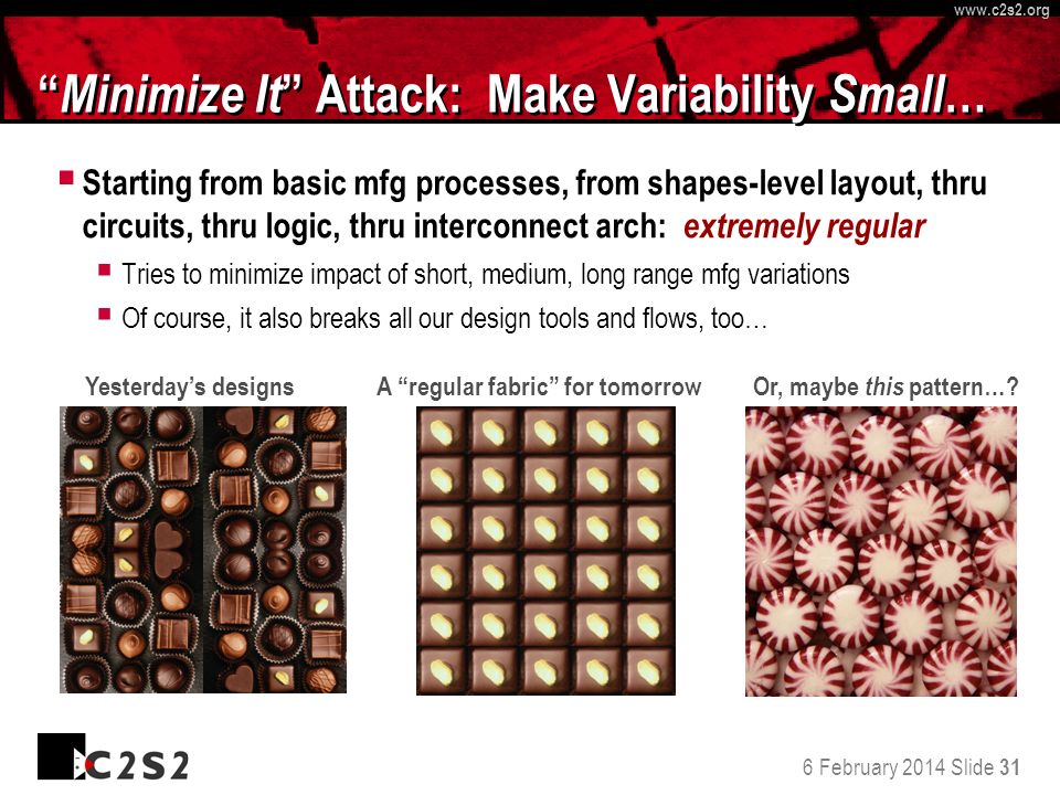 6 February 2014 Slide 31 http://www.c 2 s 2.org www.c 2 s 2.org Minimize It Attack: Make Variability Small … Starting from basic mfg processes, from s