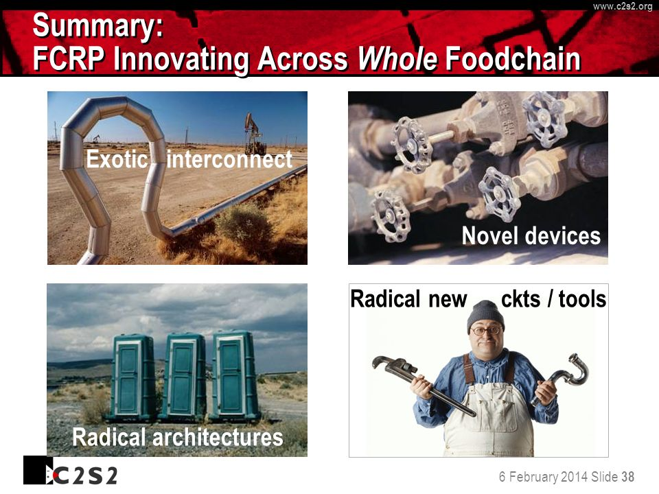 6 February 2014 Slide 38 http://www.c 2 s 2.org www.c 2 s 2.org Summary: FCRP Innovating Across Whole Foodchain Exotic interconnect Novel devices Radical architectures Radical new ckts / tools