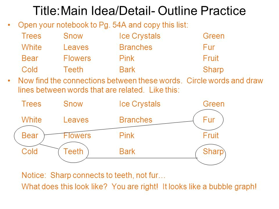 Title:Main Idea/Detail- Outline Practice Open your notebook to Pg. 54A and copy this list: TreesSnowIce CrystalsGreen WhiteLeavesBranchesFur BearFlowe