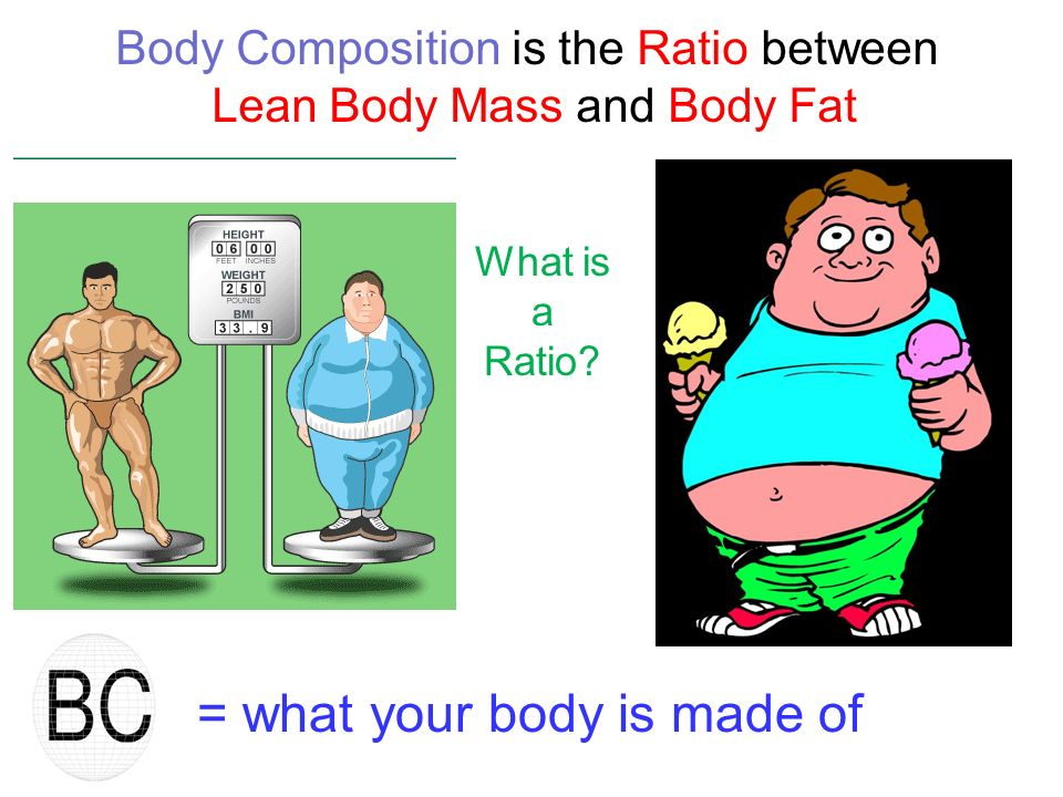 = what your body is made of Body Composition is the Ratio between Lean Body Mass and Body Fat What is a Ratio