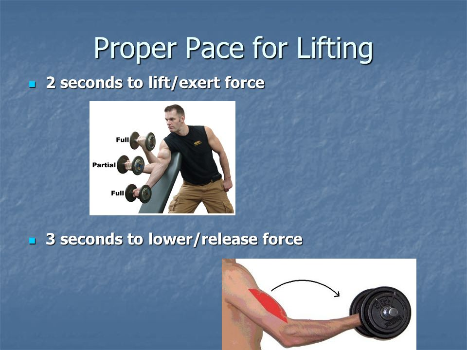 Proper Pace for Lifting 2 seconds to lift/exert force 2 seconds to lift/exert force 3 seconds to lower/release force 3 seconds to lower/release force