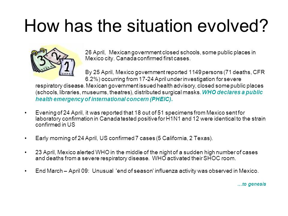 How has the situation evolved? 26 April, Mexican government closed schools, some public places in Mexico city. Canada confirmed first cases. By 25 Apr