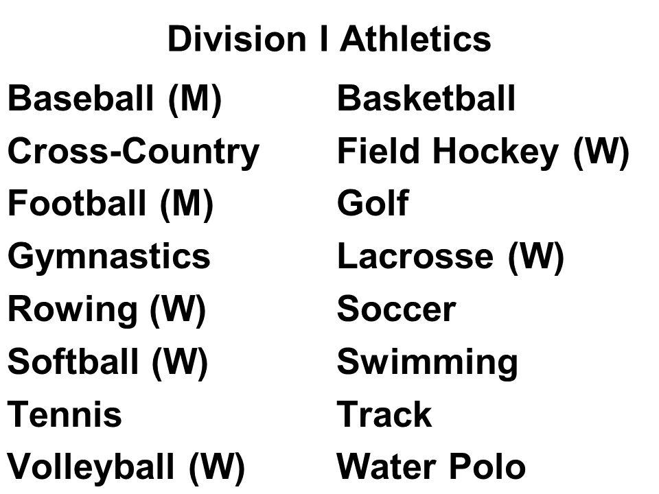 Division I Athletics Baseball (M)Basketball Cross-CountryField Hockey (W) Football (M)Golf GymnasticsLacrosse (W) Rowing (W)Soccer Softball (W)Swimming TennisTrack Volleyball (W)Water Polo