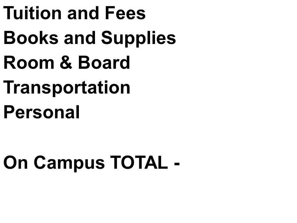 Tuition and Fees Books and Supplies Room & Board Transportation Personal On Campus TOTAL -