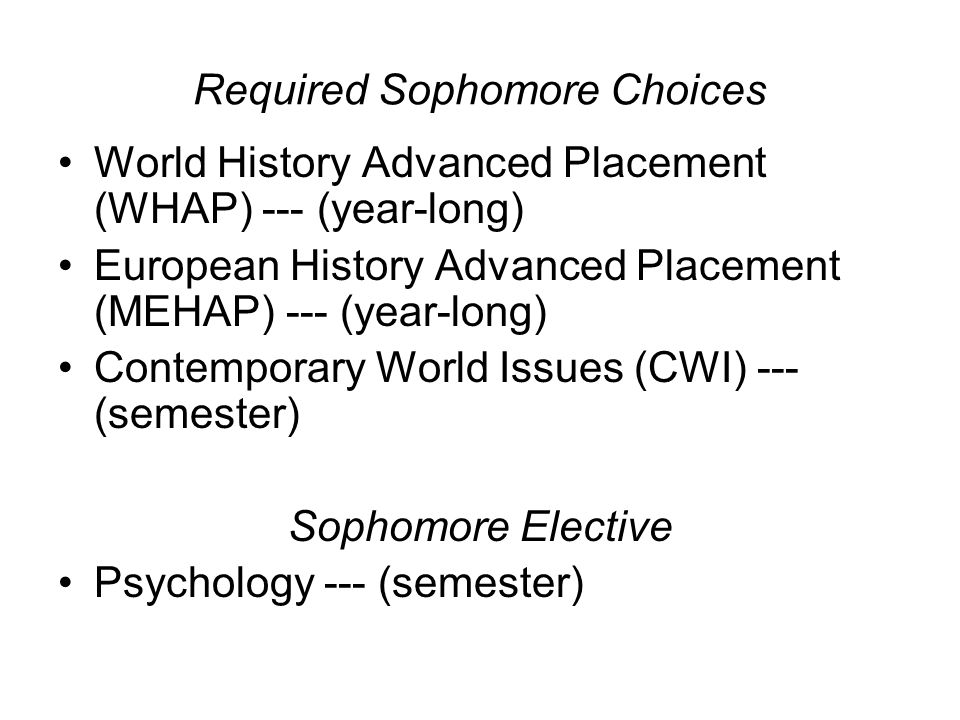 Required Sophomore Choices World History Advanced Placement (WHAP) --- (year-long) European History Advanced Placement (MEHAP) --- (year-long) Contemporary World Issues (CWI) --- (semester) Sophomore Elective Psychology --- (semester)