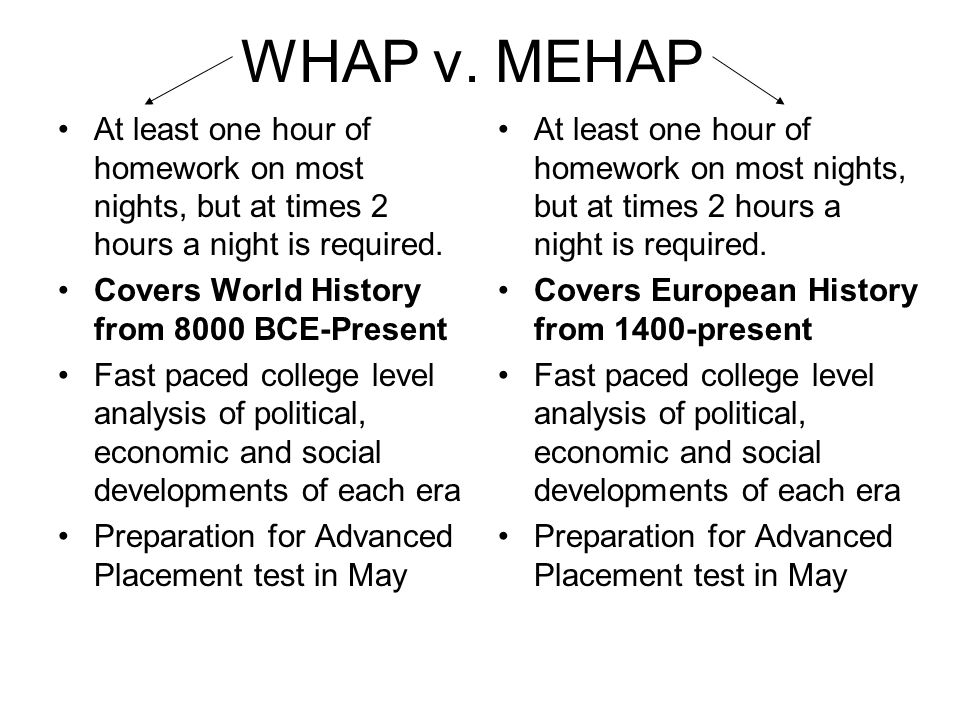 WHAP v. MEHAP At least one hour of homework on most nights, but at times 2 hours a night is required. Covers World History from 8000 BCE-Present Fast