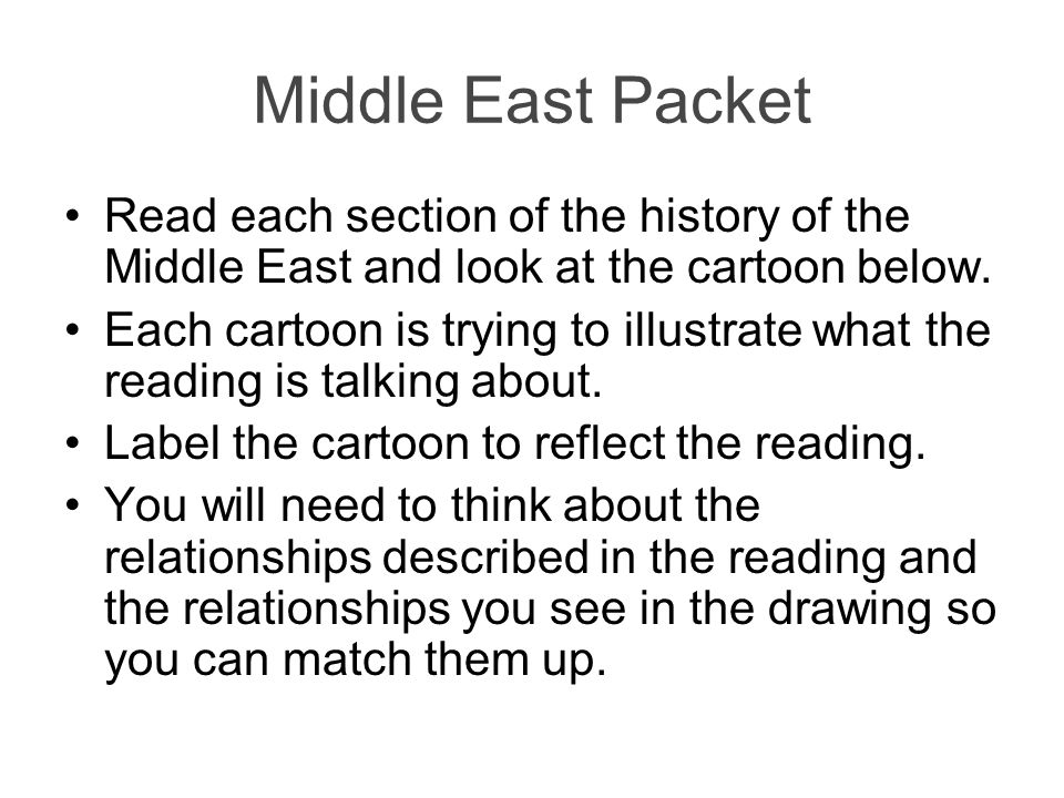 Middle East Packet Read each section of the history of the Middle East and look at the cartoon below. Each cartoon is trying to illustrate what the re