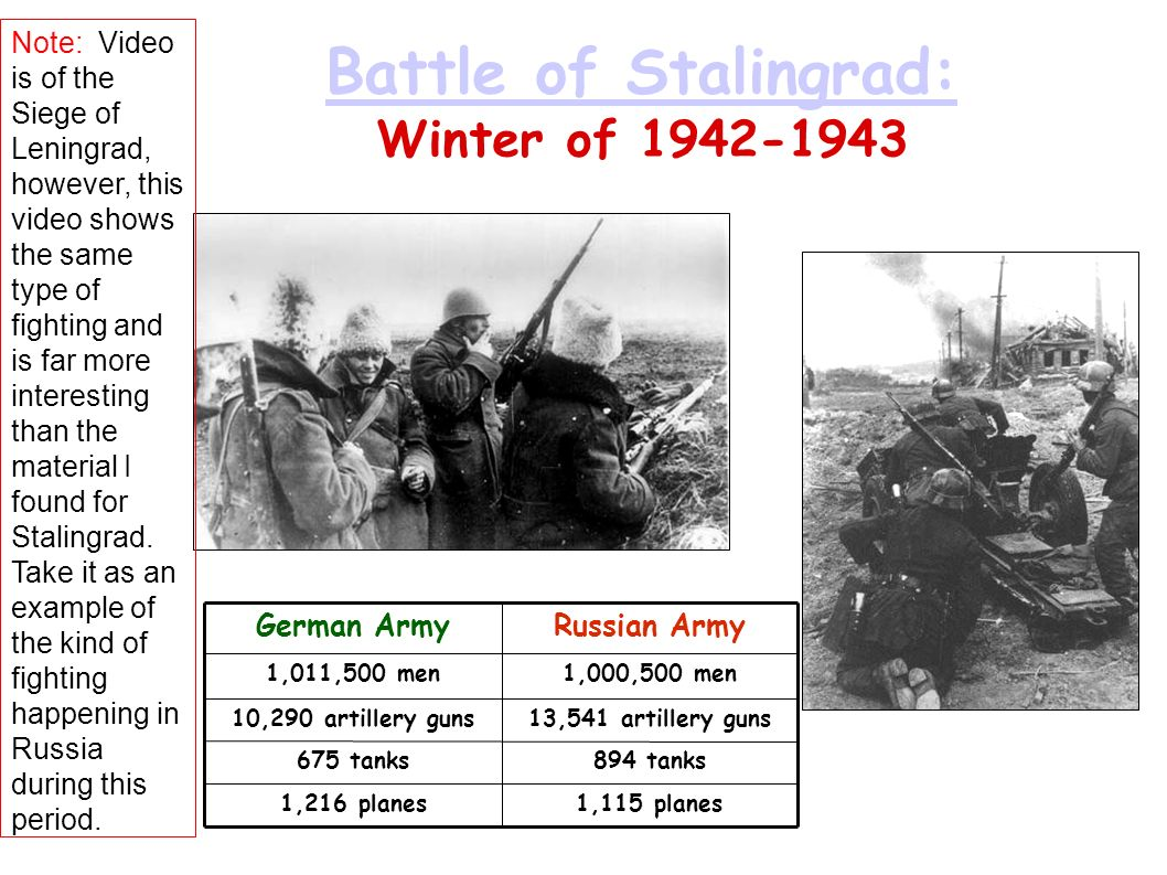 Battle of Stalingrad: Battle of Stalingrad: Winter of 1942-1943 German ArmyRussian Army 1,011,500 men1,000,500 men 10,290 artillery guns13,541 artille