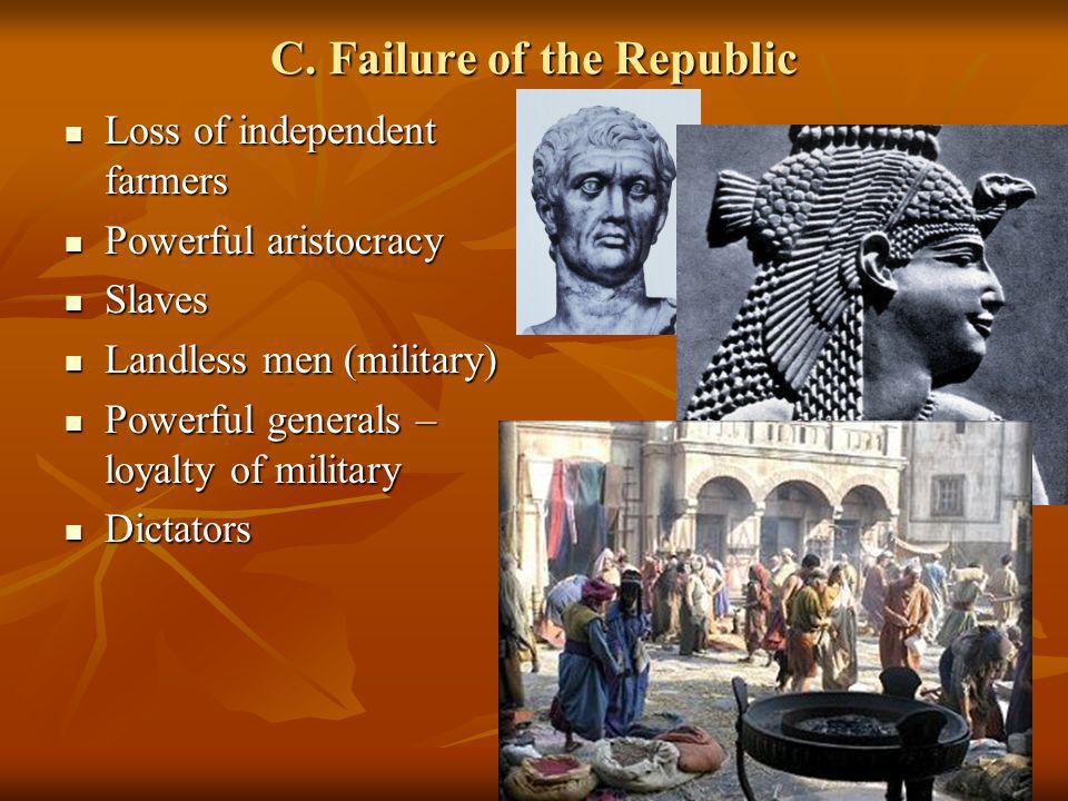 C. Failure of the Republic Loss of independent farmers Loss of independent farmers Powerful aristocracy Powerful aristocracy Slaves Slaves Landless me