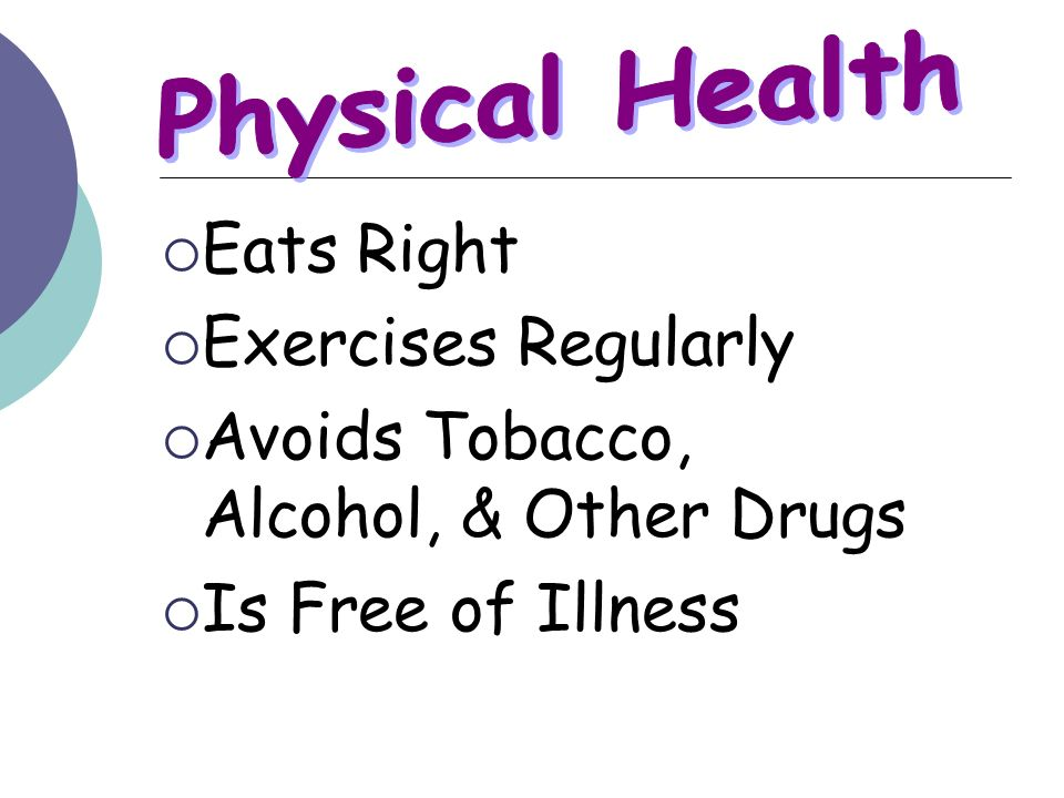 Eats Right Exercises Regularly Avoids Tobacco, Alcohol, & Other Drugs Is Free of Illness