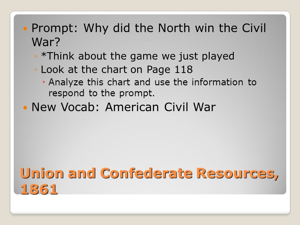 Union and Confederate Resources, 1861 Prompt: Why did the North win the Civil War? *Think about the game we just played Look at the chart on Page 118