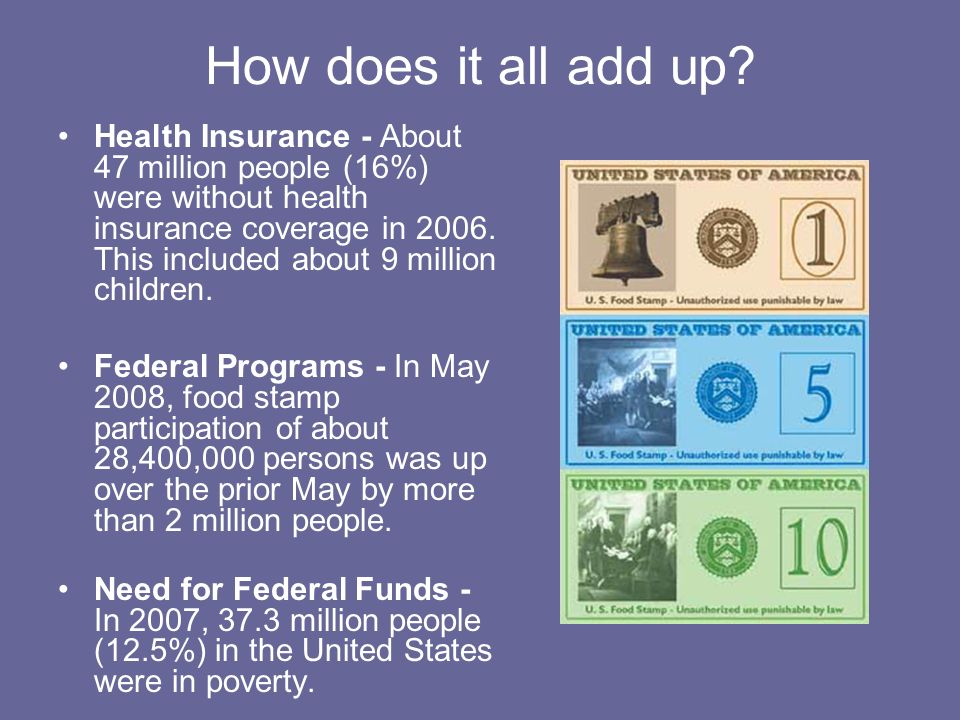 How does it all add up? Health Insurance - About 47 million people (16%) were without health insurance coverage in 2006. This included about 9 million