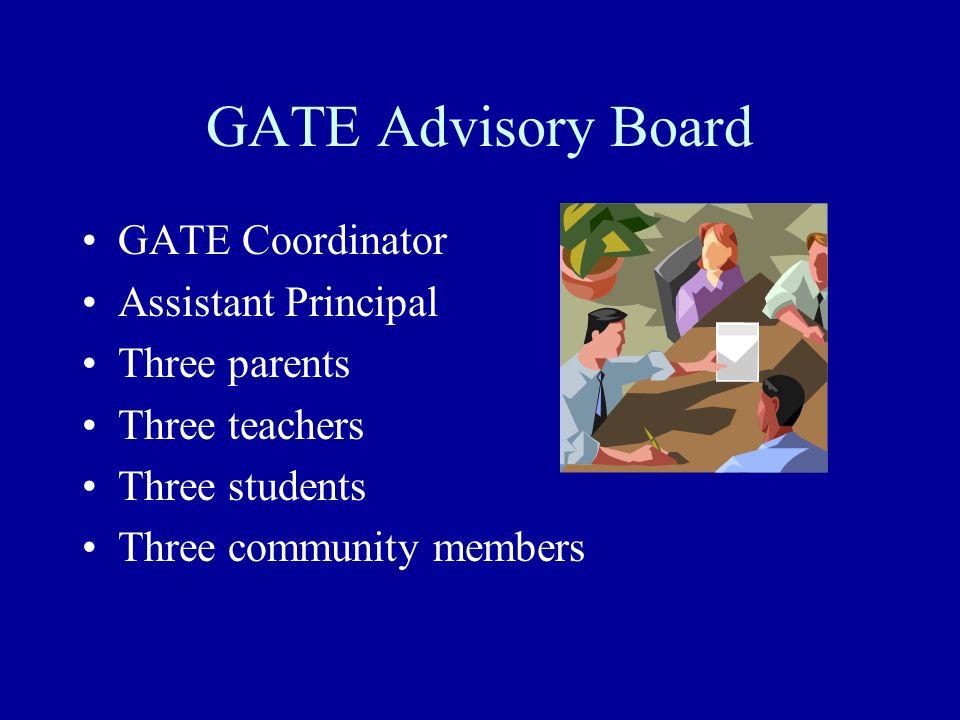 GATE Advisory Board GATE Coordinator Assistant Principal Three parents Three teachers Three students Three community members