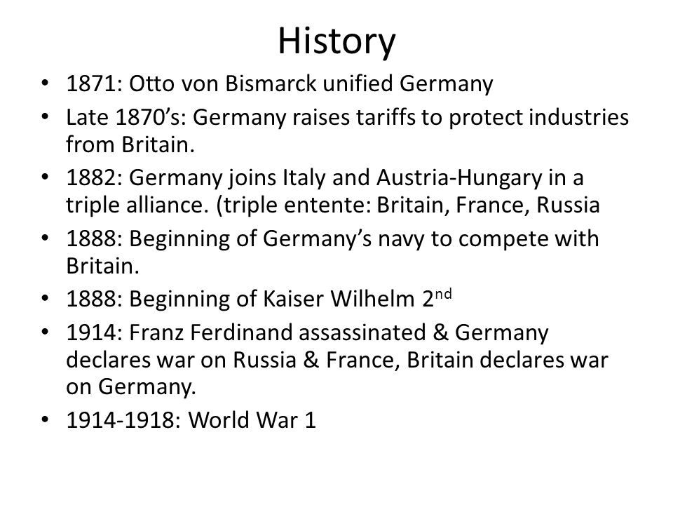 More History 1915: German Cameroon & German colonies of South West Africa are conquered.