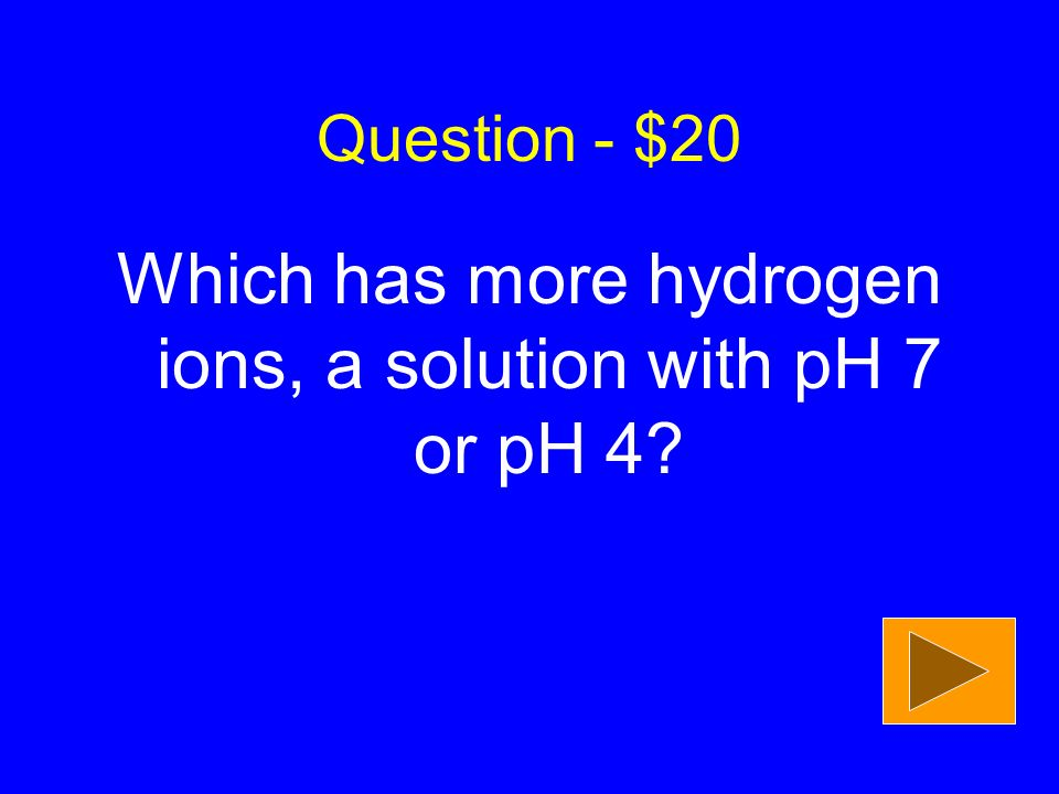 Question - $20 Which has more hydrogen ions, a solution with pH 7 or pH 4