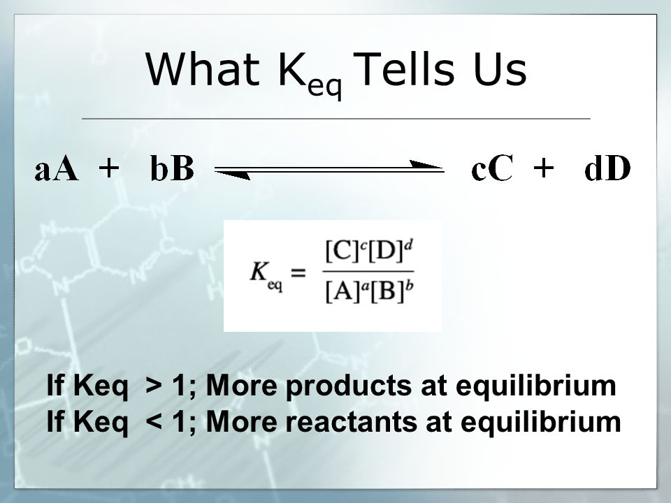 What K eq Tells Us If Keq > 1; More products at equilibrium If Keq < 1; More reactants at equilibrium